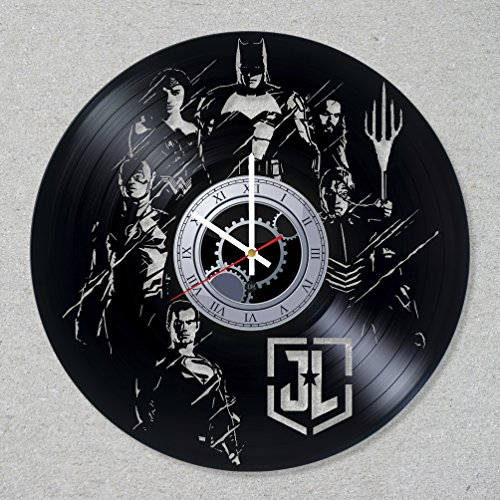 Vinyl Record Wall Clock Justice League Superhero Batman Wonder Superman Woman Flash Aquaman decor unique gift ideas for friends him her boys girls World Art Design