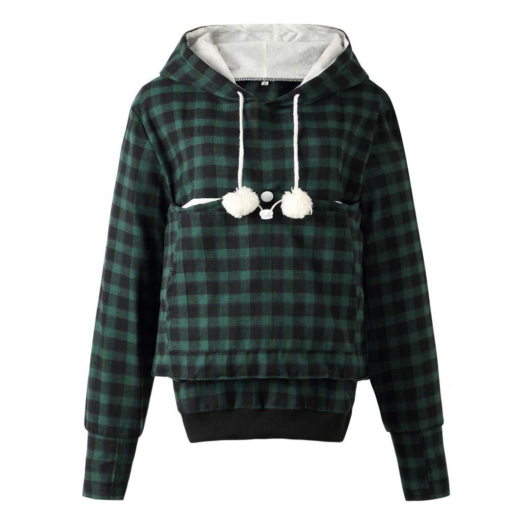 Dermanony Womens Plaid Printed Hoodies Fashion Long Sleeve Pet Pullover Big Pockets Winter Velvet Sweatshirt Loose Tops Green by Dermanony _Blouses