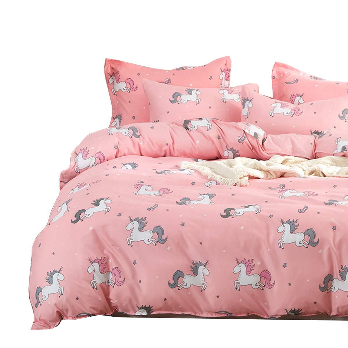 Uozzi Bedding Girls Duvet Cover Set 3 Pieces Twin 68x90 Cute Pattern Bedding Set (1 Pink Unicorn Duvet Cover+2 Pillow Shams) Polyester 800 TC Luxury Hypoallergenic with Zipper Closure, 4 Corner Ties by Uozzi Bedding