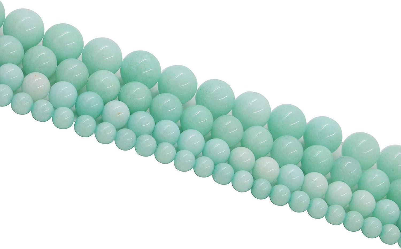 MICG - Cuentas sueltas redondas de piedra de amazonita para joyería, pulsera, collar, hacer 1 hebra por bolsa, Amazonite Stone, 4MM/90PCS