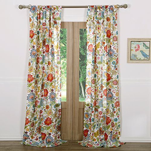Greenland Home Astoria Curtain Panel Set, 84-inch L, White (Flower Curtains)