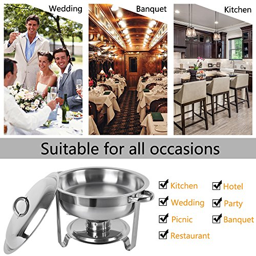 ROSVUN 5 Qt 2 Packed Full Size Upgraded Stainless Steel Chafing Dish Buffet Silver Round Catering Warmer Set with Food and Water Trays, Mirror Cover, Thick Stand Frame for Kitchen Party Banquet by ROVSUN (Image #6)
