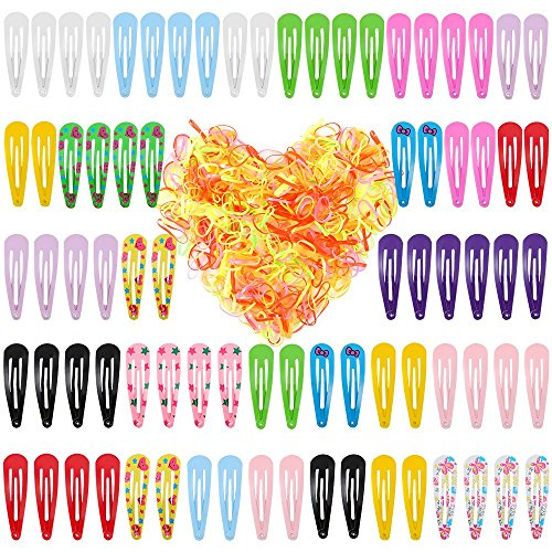 Auihiay 80 Pieces 2 Inch Hair Clips and 400 Pieces Colorful Hair Rubber Bands for Girls Toddlers Kids Women Accessories