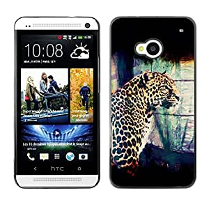 Qstar Arte & diseño plástico duro Fundas Cover Cubre Hard Case Cover para HTC One M7 ( Leopard Spots Dots Big Cat Wild Portrait Art)