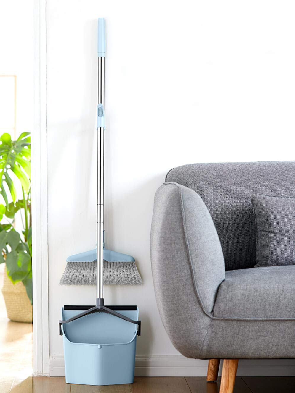 Dust Pan Sweep Set and Broom/Dustpan Cleans Broom Combo with Long Handle Broom Organizer for Home Kitchen Room Office Lobby Floor Use Upright Stand up Dustpan Broom Set by YOUSHANGJIA (Image #8)