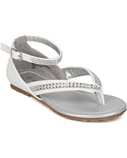 Girls Metallic Leatherette Open Toe Caged Ankle Strap Flat Sandal GC08