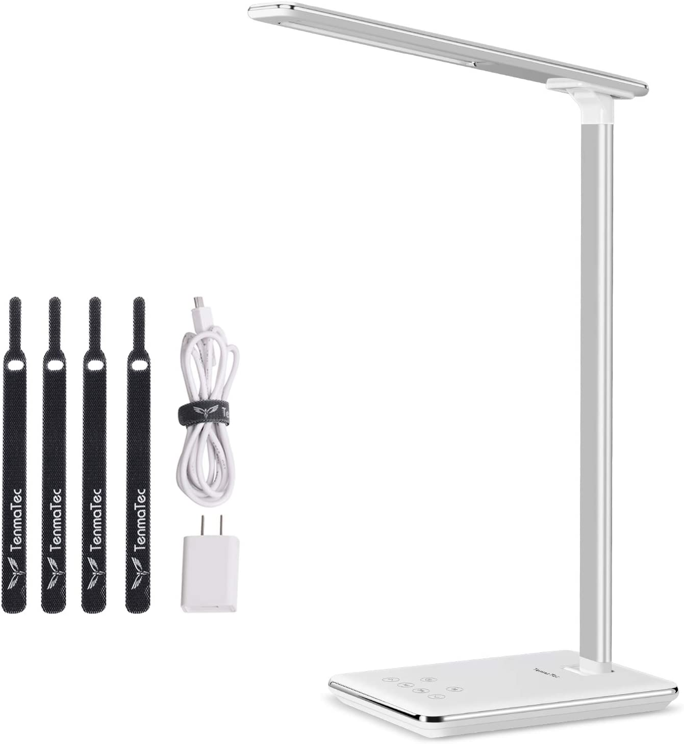 TenmaTec White Desk Lamp Computer Desk Lamps Side Luminescence Technology, USB Charging Port, 1 or 2 Hour Auto Timer,4 Lighting Modes with 6 Brightness Levels Piano White Finish Reading Light