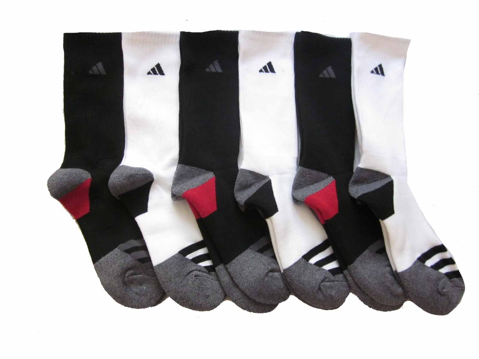 adidas Men's Athletic Crew Socks (6-Pack) (Black/White (Gray/Black Logos)) by adidas