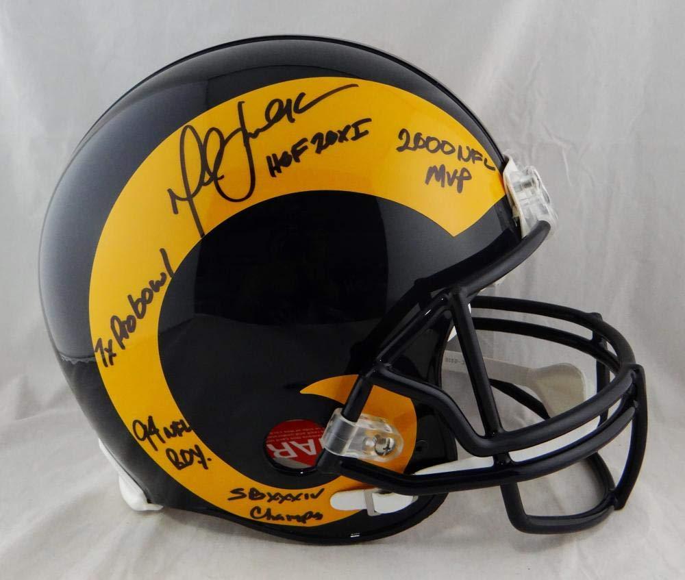 Marshall Faulk Autographed F/S ProLine Rams 81 99 TB Helmet W/ 5 Insc Beckett Auth