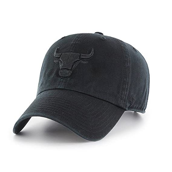 47 Brand Chicago Bulls Clean Up Black/Black Current Logo Dad Hat Cap by '47