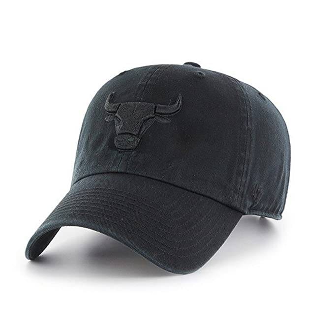 d930b9c33 Image Unavailable. Image not available for. Color  47 Brand Chicago Bulls CLEAN  UP Black Black CURRENT LOGO Dad Hat Cap