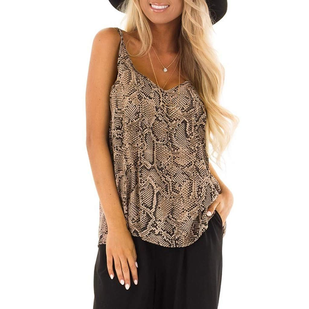 Lmx+3f Sexy Womens Deep V-Neck Serpentine Printing Tops Sleeveless Camisole T-Shirt Blouse Loose Soft Comfy Tops Khaki