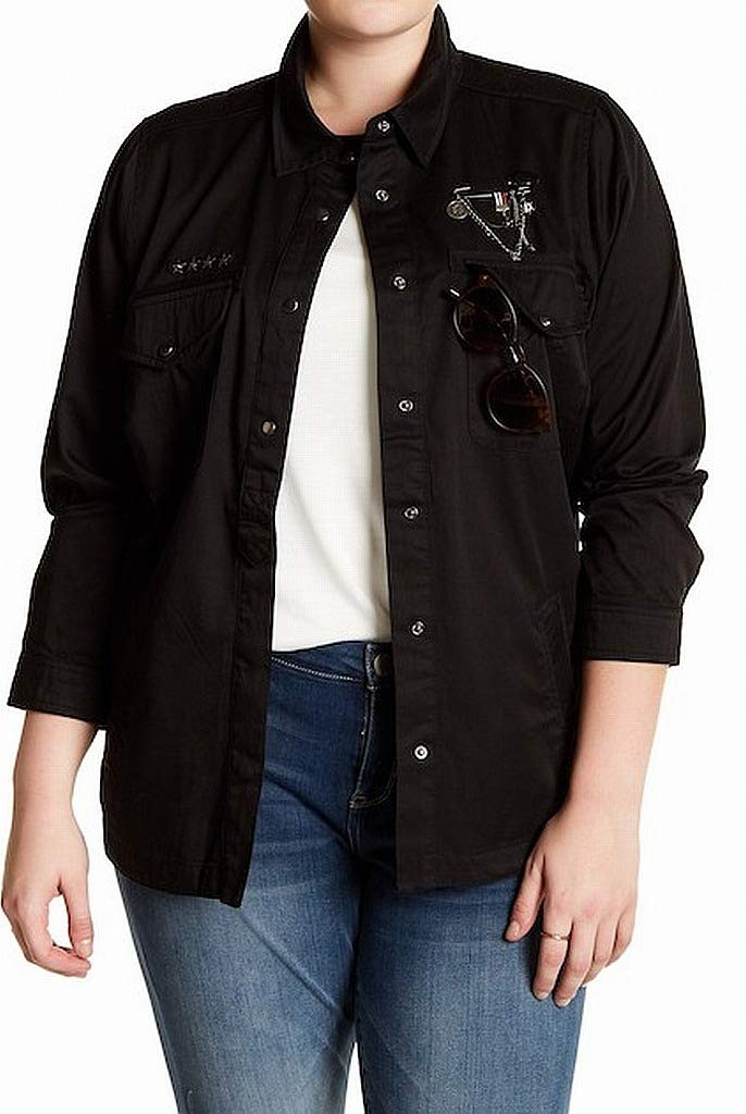 Jolt Women's Plus Chain Studded Military Jacket Black 2X