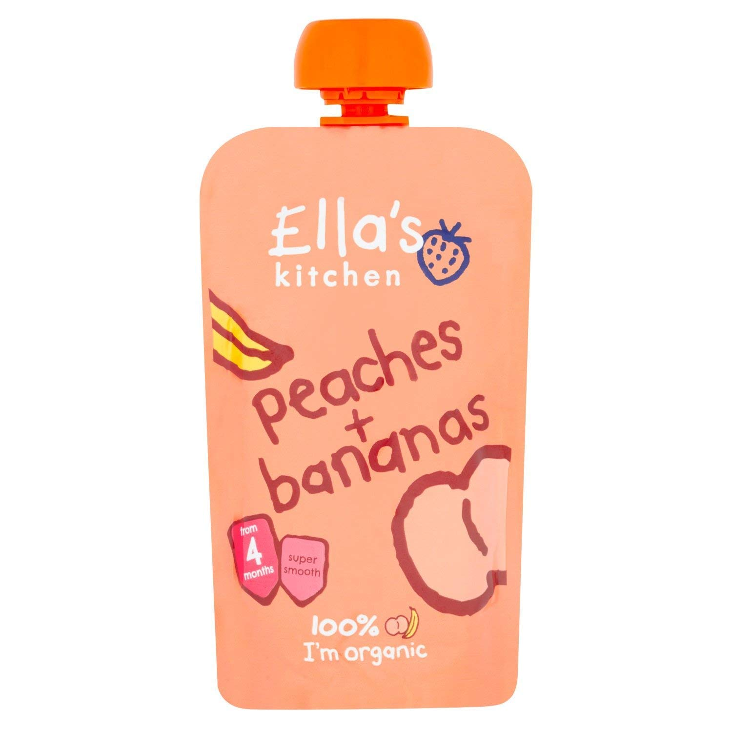 Ella's Kitchen Stage 1 From 4 Months Organic Peaches and Bananas 120 g (Pack of 7) Ella's Kitchen ELL-PEACH