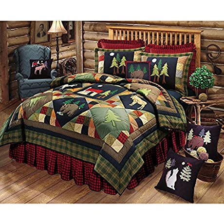 1 Piece Black Blue Red Embroidered Patchwork Quilt King Green Brown Animal Print Lodge Cabin Buck Deer Woodland Wildlife Appliqued Plaid Wildlife Moonlit Forest Themed Adult Bedding Cotton