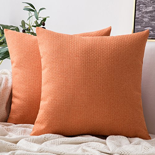 MIULEE Pack of 2 Decorative Plaids Woven Pillow Cover Checked Soft Soild Square Weave Throw Pillow Sham Home Decor Design Cushion Case for Sofa Bedroom Car 18x18Inch 45x45 cm Orange