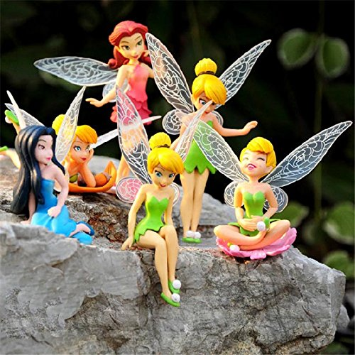 BUNITA,6pcs/Set Cartoon Mini Flying Flower Fairy Miniature Figurine Bonsai Craft DIY Dollhouse Garden Ornament Decoration Toys,Dollhouse Flower