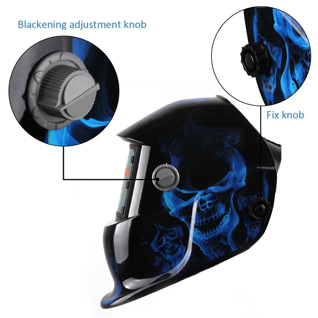 Casco Soldadura Fotosensible (ADF, 93x43mm Incrustaciones filtro LCD, Más Ligero, Protección Los Ojos), Azul: Amazon.es: Bricolaje y herramientas