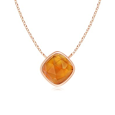 Angara Bezel-Set Citrine Necklace for Women in Rose Gold kbFEpMueRy