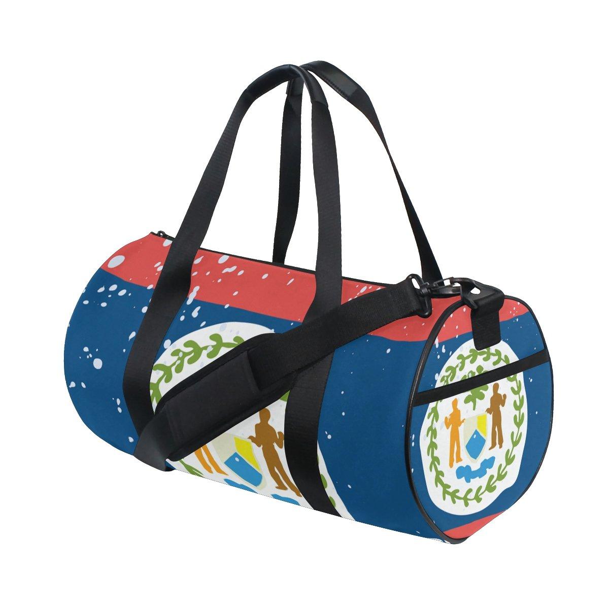 Distressed Belize Flag Travel Duffel Shoulder Bag ,Sports Gym Fitness Bags
