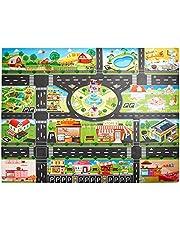 Finetoknow Barn lekmattor låtsas leka hus leksak karta trafik vägskyltar bilmodell parkering stad scen karta lärande utbildning skyltar matta modell roliga födelsedagspresenter för barn