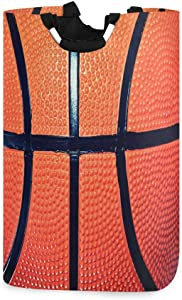 BEETTY Collapsible Laundry Basket Handle Basketball Pattern Portable Foldable Laundry Hamper Organizer Cloth Hamper for Family