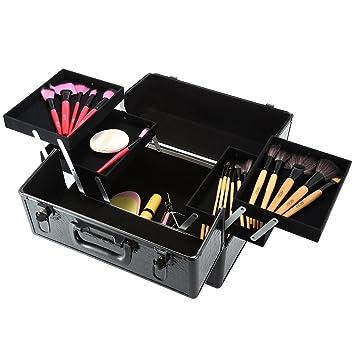 Docooler Lockable Cosmetic Organizer, Box Foldable Makeup Train Storage  Case Holder, 2 Layers (Black)