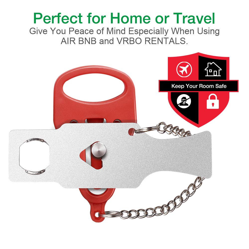 Solid Heavy Duty Lock Prevent Unauthorized Entry Perfect for Traveling Add Extra Lock for Additional Safety and Privacy Hotel Home,Apartment Portable Door Lock,Travel Lock Silver1 AirBNB