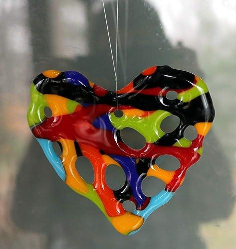 Amazon Com Colorful Glass Heart Rainbow Suncatcher Sun Catcher