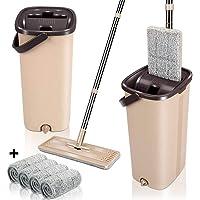 ممسحة مطاطية ودلو مع 5 قطع من وسادات ممسحة ممسحة سهلة التنظيف الذاتي ومجموعة دلو للاستخدام الجاف والمبتل على الأرضية