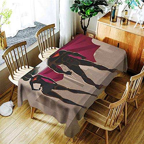 XXANS Fashions Rectangular Table Cloth,Superhero,Super Woman and Man Heroes in City Solving Crime Hot Couple in Costume,Party Decorations Table Cover Cloth,W50x80L Beige Brown Magenta
