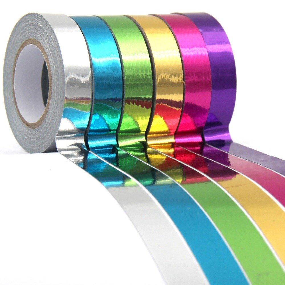 Lavenz DIY laser aluminum shining design 8 color scrapbooking home decoration gift packing sticker tape 8 rolls/lot