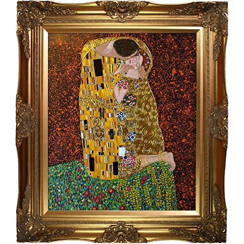 (La Pastiche KLG1839-FR-6996G20X24 Framed Oil Painting The Kiss Full view Metallic Embellished by Gustav Klimt with Victorian Gold Frame)