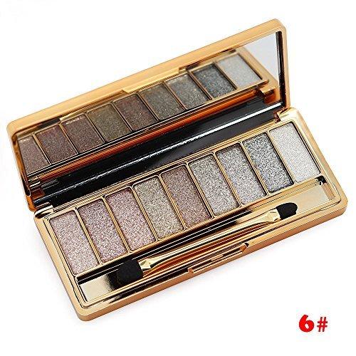 Tmalltide Natural Nudes Professional 9 Colors Diamond Bright Colorful Eye Shadow Super Flash Sparkling/Glitter Eyeshadow Colour Concealer Palette Gift Bundle(6#)