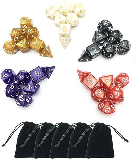 qingqingR 5 x 7-Die Series Two Colors Dungeons And Dragons DND Rpg Giochi da Tavolo MTG Dadi con Sacchetti gratuiti