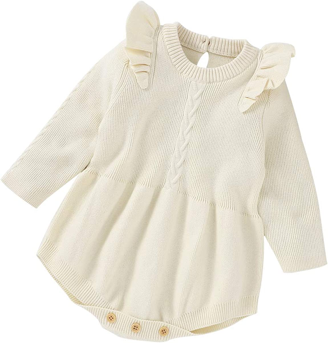 Ambabe Newborn Baby Girl Fall Winter Clothes Ruffled Long Sleeve Solid Color Knitted Romper Sweater Jumpsuit One-Piece Outfit