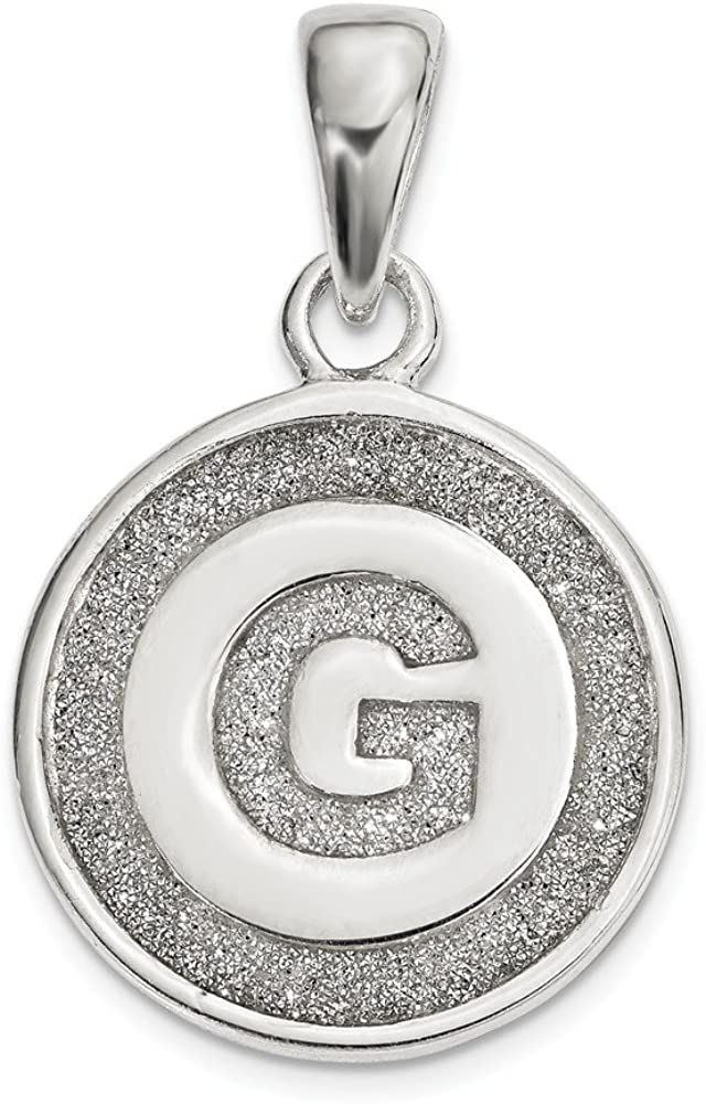 FB Jewels Sterling Silver Glitter Enamel Letter A Circle Pendant