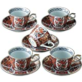 Japanese Coffee Cups and Saucers, Arita-ware Kinrande Excellent Ko-imari (5 Cups and 5 Saucers Set)