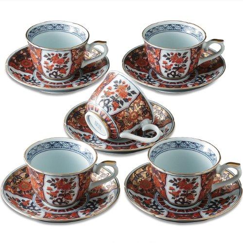 Imari Coffee Saucer (Japanese Coffee Cups and Saucers, Arita-ware Kinrande Excellent Ko-imari (5 Cups and 5 Saucers Set))