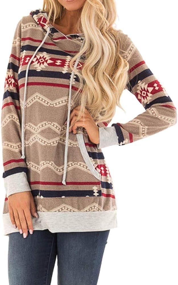 Luckycat Mujeres otoño e Invierno Moda Casual Bufanda Cuello Rayas Manga Larga Bolsillo con cordón suéter Superior Sudadera Camisa: Amazon.es: Ropa y accesorios