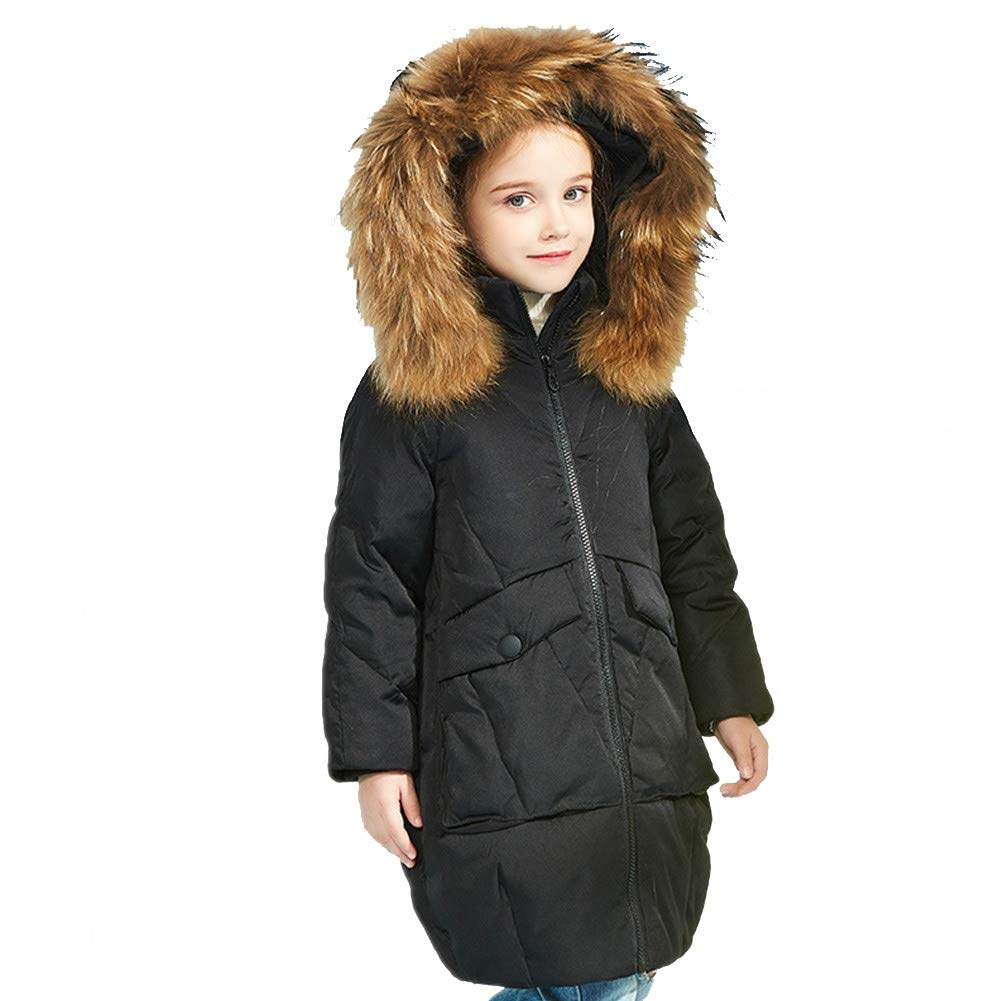 noir 160cm RSTJ-Sjc Manteau Chaud en Duvet pour Filles VêteHommests de Moyenne Longueur, Parfaits pour l'hiver Froid