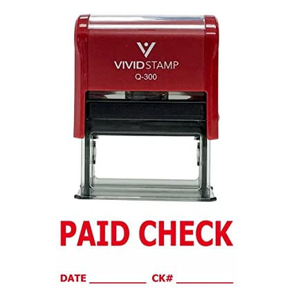 Paid Check W Date Ck Line Self Inking Rubber Stamp Red Ink Large