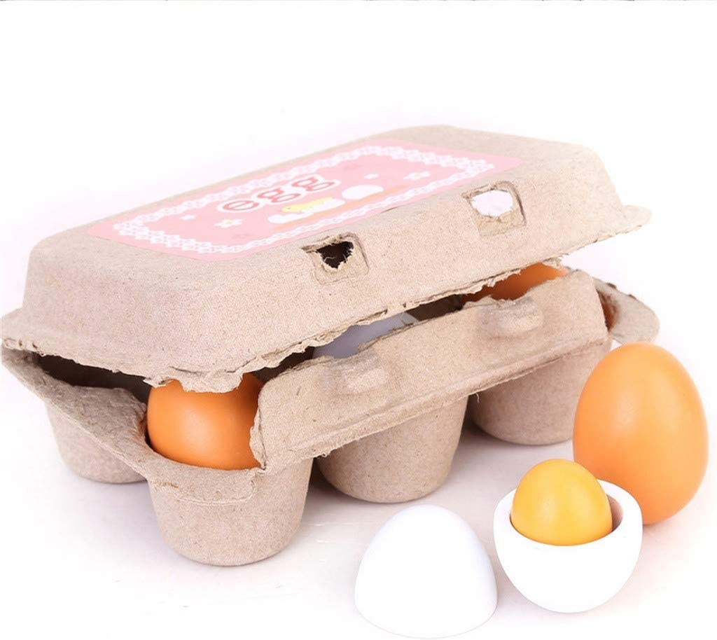 Fake Wooden Eggs - 6 Pieces Pretend Food Play Eggs Accessories with Authentic Egg Carton Solid Wood Cute Toy for Children,White and Yellow Wooden Realistic Imagination Gifts for Girls and Boys
