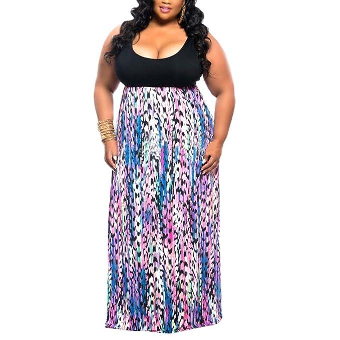 Akmipoem Women Wave Striped Plus Size Scoop Neck Chevron Maxi Long Dress