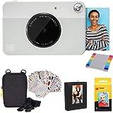 Kodak Printomatic Instant Camera (Grey) Gift Bundle + Zink Paper (20 Sheets) + Deluxe Case + 7 Fun Sticker Sets + Twin Tip Ma