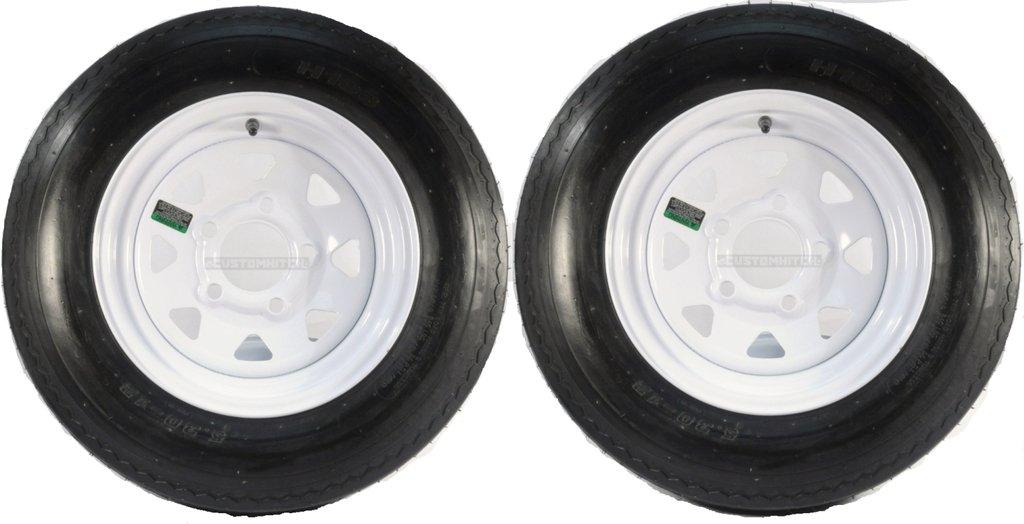 eCustomRim Two Trailer Tires & Rims 5.30-12 530-12 5.30 X 12 12 5 Hole Wheel White Spoke