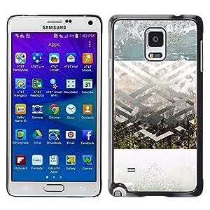 LECELL--Funda protectora / Cubierta / Piel For Samsung Galaxy Note 4 SM-N910 -- Geometrical Landscape Art Spiritual --
