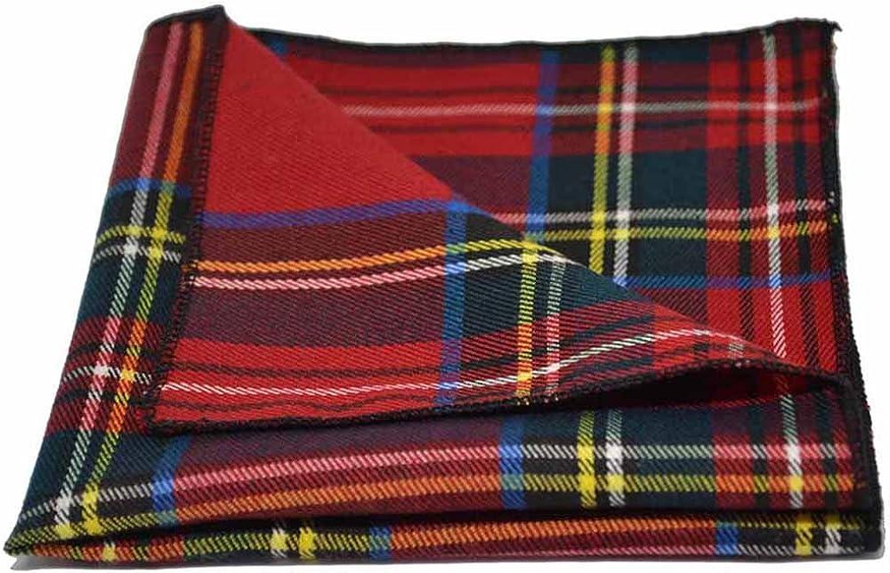 Traditional Red//Yellow Tartan Plaid Check Pocket Square Handkerchief