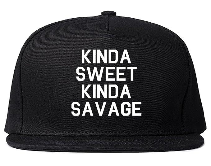 db2547b93fae1 Amazon.com  Kinda Sweet Kinda Savage Snapback Hat Cap Black  Clothing
