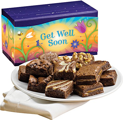 Fairytale Brownies Get Well Magic Morsel Dozen Gourmet Food Gift Basket Chocolate Box - 1.5 Inch x 1.5 Inch Bite-Size Brownies - 12 Pieces